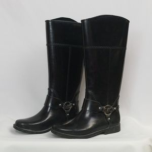 Michael Kors black, rubber, harness rain boots, 7